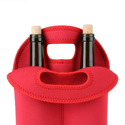 Red Two Bottle Insulated WINE TOTE Bag NEOPRENE Carrier Cooler Waterproof Bag IS 6