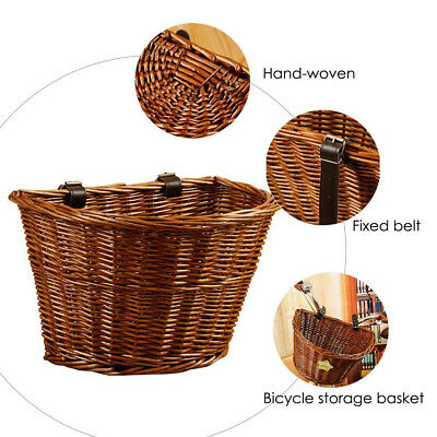 Bicycle Basket Vintage Wicker Front Handlebar Basket Bike Woven Cargo Container