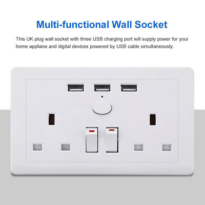 Double Wall Plug Socket 2 Gang 13A with 3 USB Ports Screwless Slim Flat Plate 4