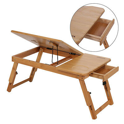Portable Bamboo Laptop Notebook Desk Table Cooling Mouse Holder Tray Sofa Bed AU 6