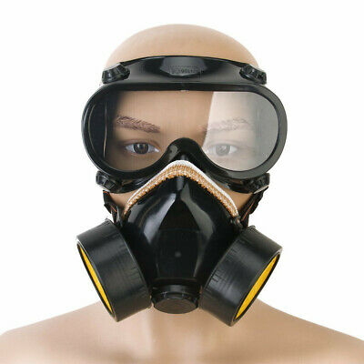 Emergency Respirator Mask Chemical Gas Mask with Goggles Dual & 2 Protection 7