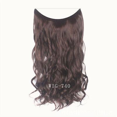 55cm Extension Cheveux lisse Ondulé Fil Invisible Transparent Monobande 10
