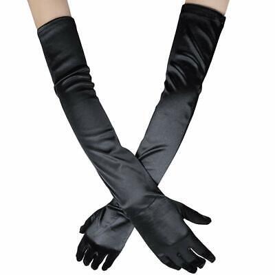 "Women Elbow Length Long Satin Gloves Finger Bridal Dance Evening Opera Party 21"" 2"