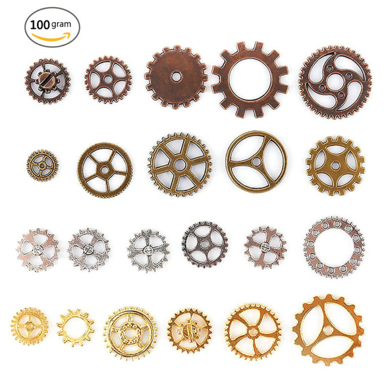 100g Assorted Metal Gears DIY Antique Steampunk Gear Jewelry Accessory Crafts