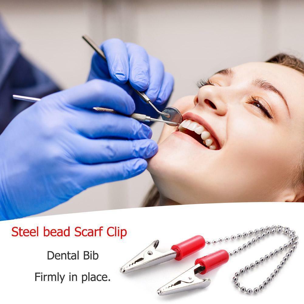 1pcs Dental Lab Bib Clips Napkin Holder Flexible Ball Chain Bib Clips Dentist 3