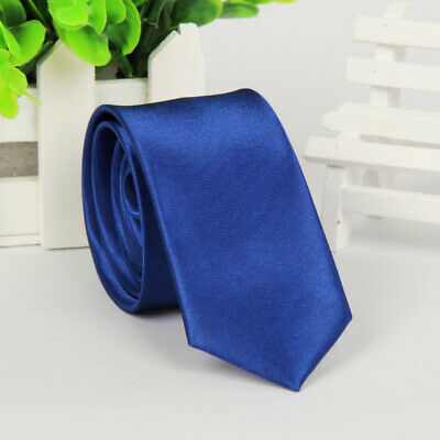 Mens SKINNY TIE Plain Wedding Slim Necktie Formal Casual Narrow Party Solid NEW 6