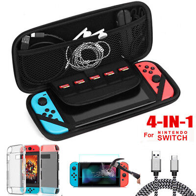 For Nintendo Switch Hard Carrying Case Bag+Shell Cover+Charging Cable+Protector 2