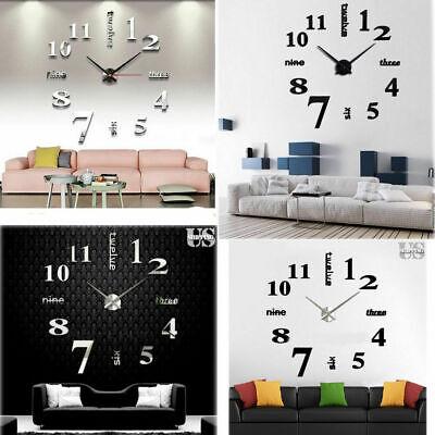 Large DIY 3D Frameless Number Wall Clock Mirror Sticker Home Office Room Decor 2
