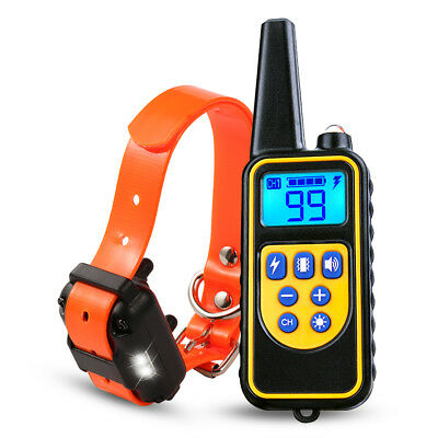 880yard 1/2/3 Dog Shock Collar LED Waterproof IP67 Rechargeable LCD Pet Training 5