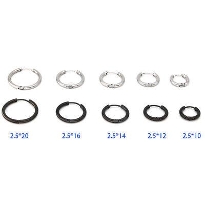 2Pcs Men Women Stainless Steel Hoop Huggie Ear Helix Cartilage Stud Ring Earring 10