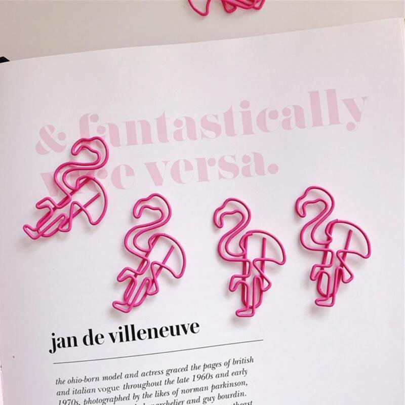 10Pcs/Lot Cute Pink Flamingo Shape Paper Clip Creative Colorful Clip Bookmark CN