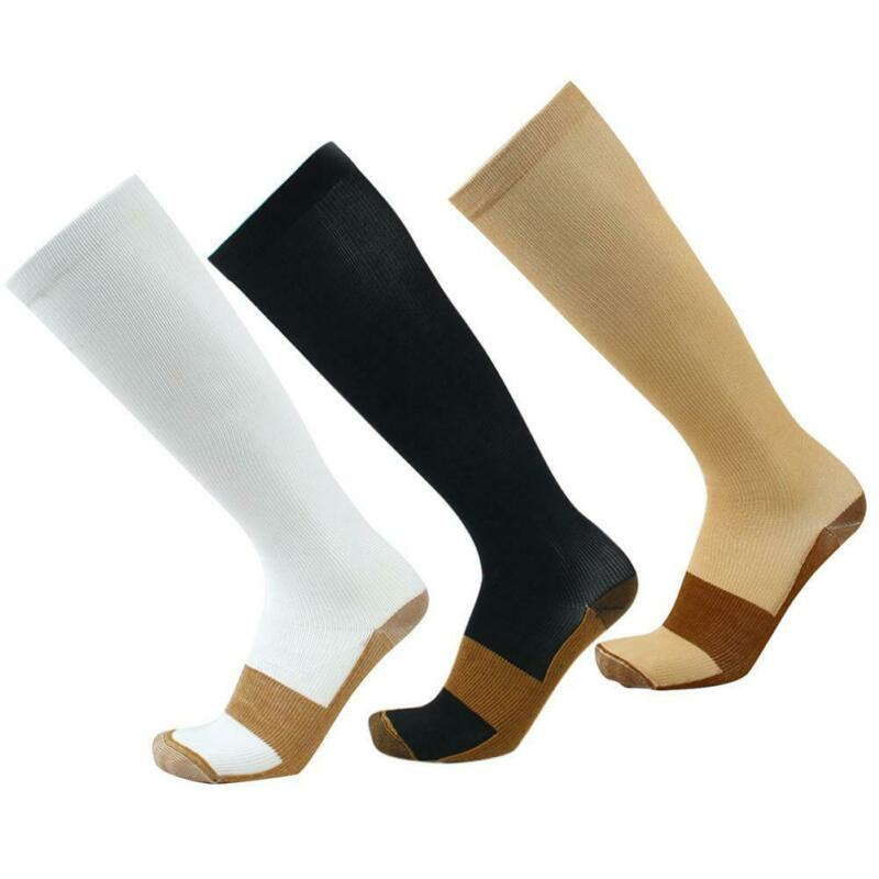 1Pair Men's Women's Size S/L Copper Infused Compression Knee High Socks Hot 5