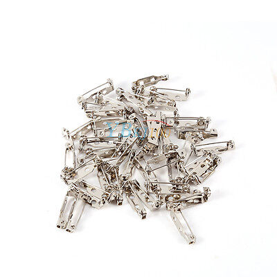 50pcs Silver Brooch Back Safety Catch Bar Pins Badge Making 20mm 25mm 32mm 38mm 4