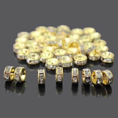 1000 Stücke 6mm Rund Strass Perlen Beads Spacer Rondelle Gold Basteln DIY Neu 3