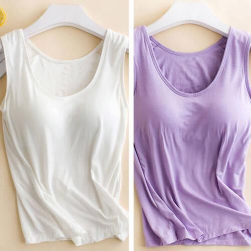 Women Ladies Camisole With Built In Shelf Bra Slim Sleeveless Tank Top Vest UK 3