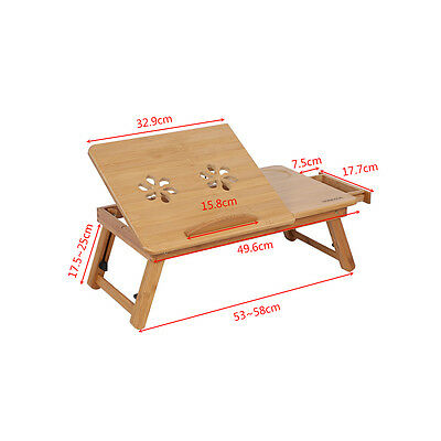 Portable Bamboo Laptop Notebook Desk Table Cooling Mouse Holder Tray Sofa Bed AU 3