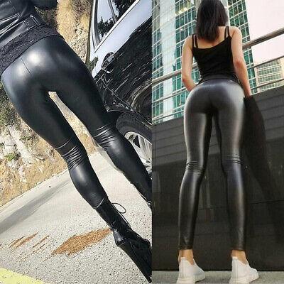 Damen Wetlook Leggings Leggins Fleece Thermo Hohe Taille Pants Lang Hosen Sexy 10