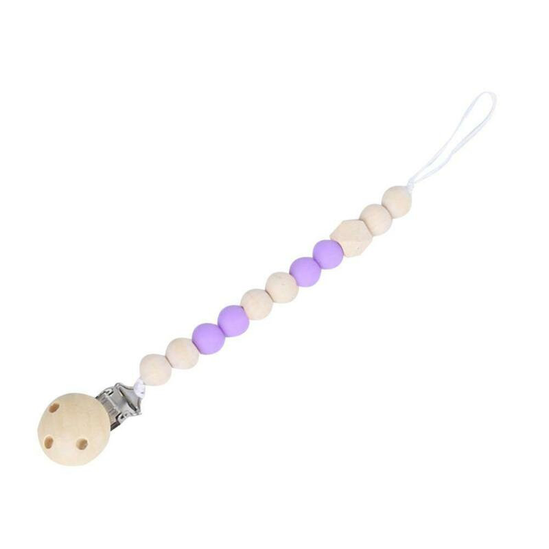 Baby Infants Pacifier Clip Wooden Chain Soother Beads Nipple Holder Chewing Toy 10