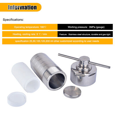 Hydrothermal Synthesis vessel kettle Autoclave Reactor PTFE Chamber 200ml Sj