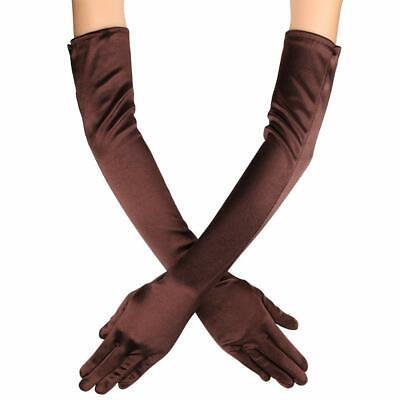 "Women Elbow Length Long Satin Gloves Finger Bridal Dance Evening Opera Party 21"" 10"
