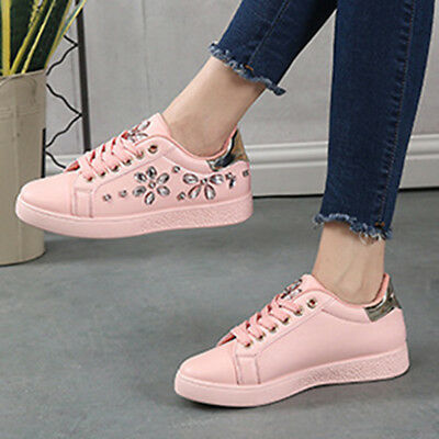 New Women Spring Autumn Rhinestone Lace UP Sport Low Top Shoes Casual Sneakers 12