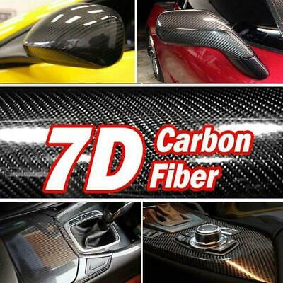 7D Premium HIGH GLOSS Black Carbon Fiber Vinyl Wrap Bubble Free Air Release Car 9
