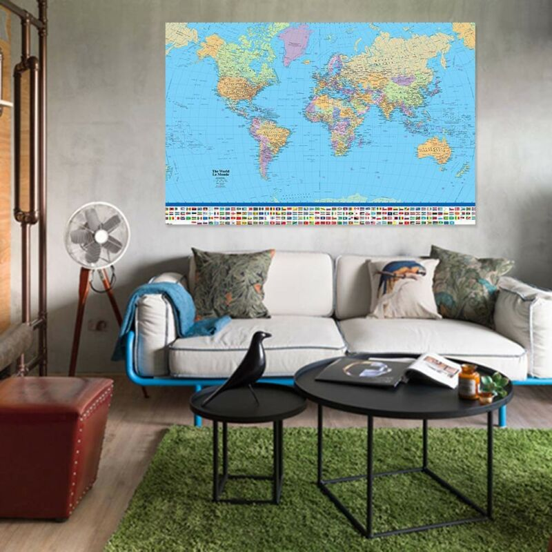 MAP OF THE WORLD IN MILLER PROJECTION FLAGS AND FACTS 90 X 60CM MAXI POSTER Be 6