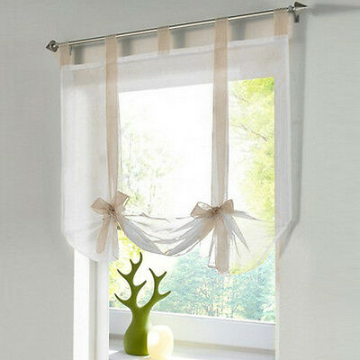1PC Roman Blinds Tab Top VoileLiftable Curtain Kitchen Balcony Study