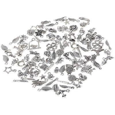 100pcs Bulk Tibetan Silver Mix Charm Pendants Jewelry Making DIY 5