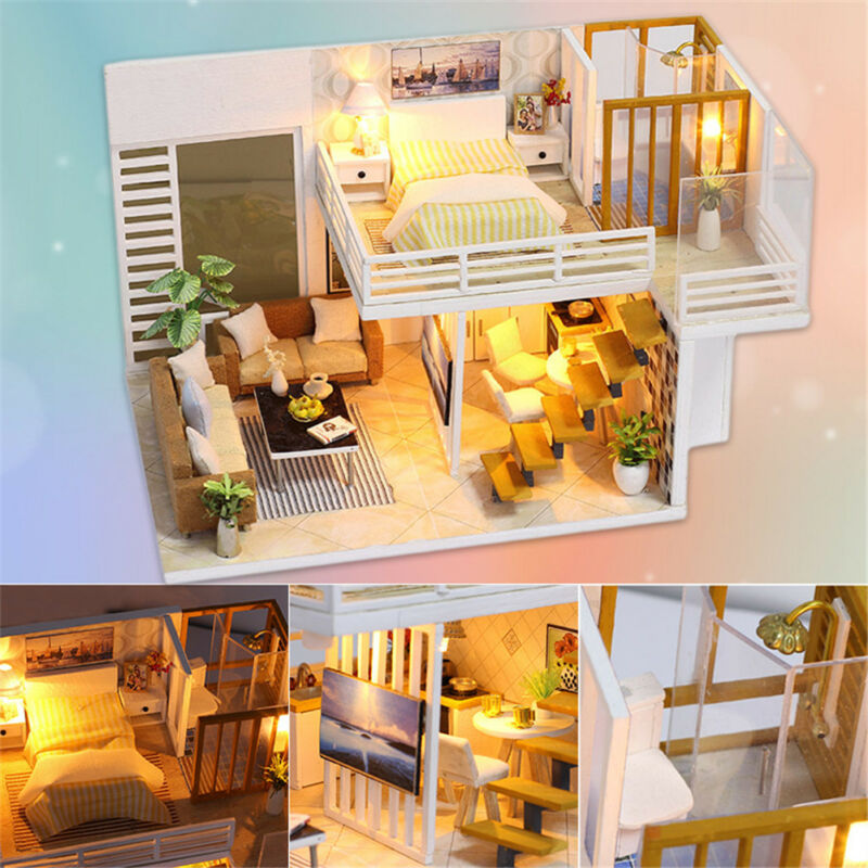 Miniature Doll House Mini Wooden Dollhouse w/LED Lights Furniture DIY Kit Gifts