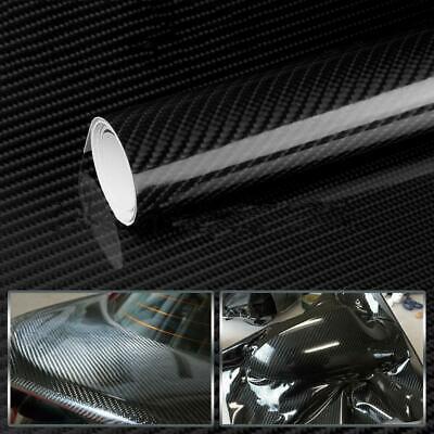 7D Premium HIGH GLOSS Black Carbon Fiber Vinyl Wrap Bubble Free Air Release Car 4