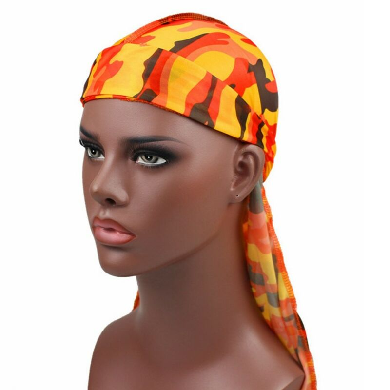 Mens Womens Camouflage Headwear Pirate Cap Hat Long Tail Bandana Turban Durag 5