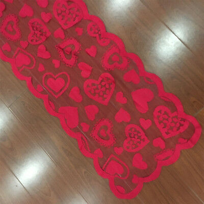 Red Vintage Lace Table Runner Doilies Wedding Valentines Day Decor 13x72inch