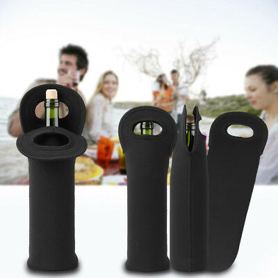 3pcs Neoprene Single Bottle Cooler Wine Tote Bag Protector Sleeve Holder Black 2