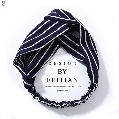 Women Girl Turban Stripe Elastic Head Wrap Headband Twisted Knotted Spa Hairband 10