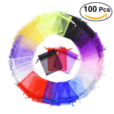 100x Large Organza Favour Pouches Gift Bag Voile Net Bags Drawstring Multi Color 4