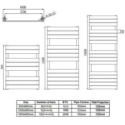 Designer Radiator Flat Panel Oval Column Towel Rail Tall Upright Central Heating 2