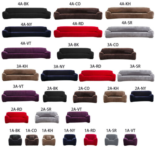 1/2/3/4 Seater Elastic Sofa Covers Slipcover Stretch Home Velvet Couch Protector 6