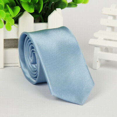 Mens SKINNY TIE Plain Wedding Slim Necktie Formal Casual Narrow Party Solid NEW 11