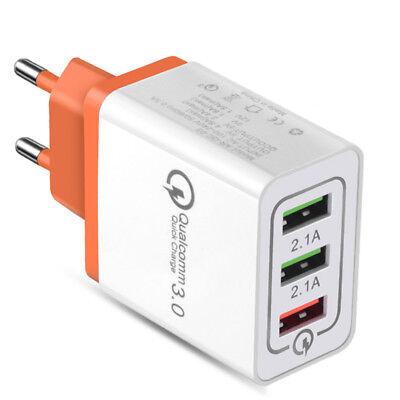 Universal 3 Port Fast Quick Charge QC3.0 USB Hub Wall Charger Adapter EU US Plug 5