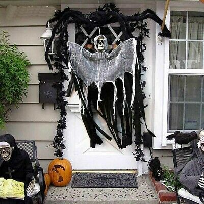 Skull Halloween Hanging Ghost Haunted House Grim Reaper Horror Props Decor RX 5