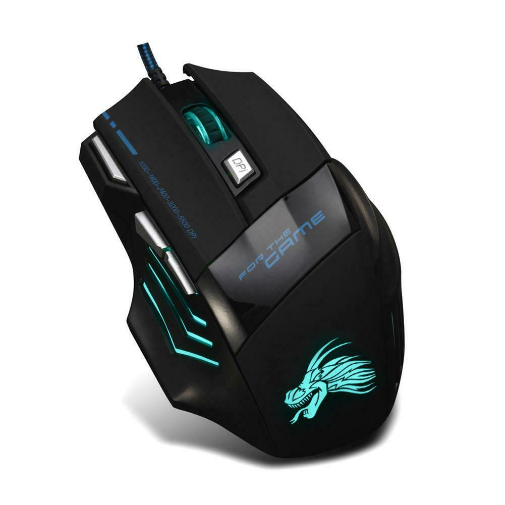 5500DPI LED Optical USB Wired Gaming Mouse 7 Buttons Gamer Computer Mice Black 7