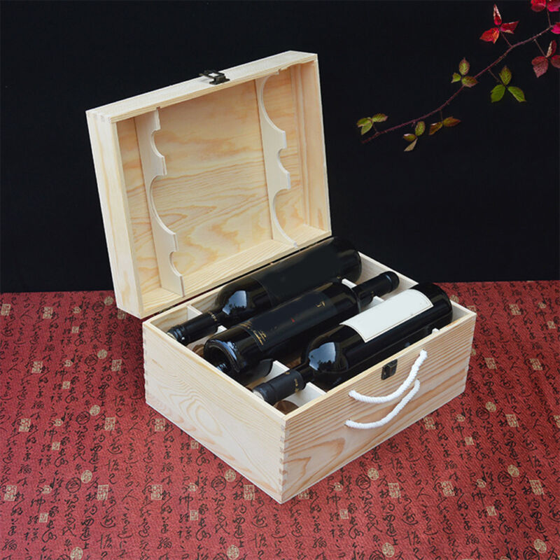 Portable 6 Bottle Wine Pine Wood Rustic Storage Box Champagne Party Gift Case