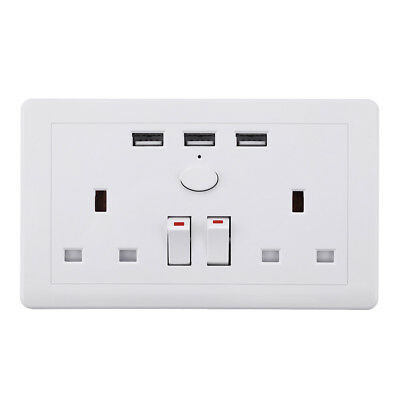 Double Wall Plug Socket 2 Gang 13A with 3 USB Ports Screwless Slim Flat Plate 11