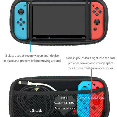 For Nintendo Switch Hard Carrying Case Bag+Shell Cover+Charging Cable+Protector 9
