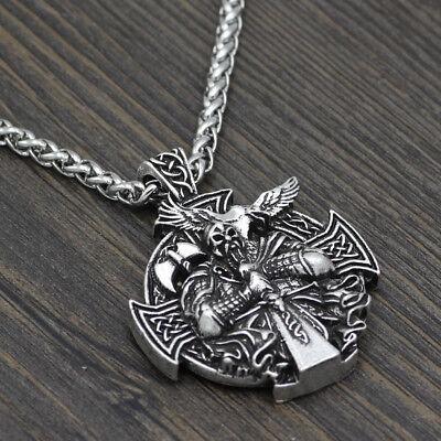 Edelstahl Wikinger Halskette Anhänger Odin Wolf Raben Kompass Schmuck Geschenk