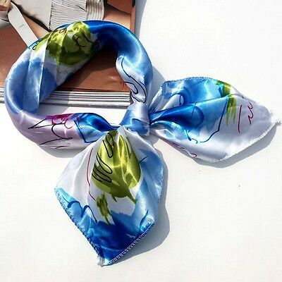 Small Vintage Head Neck Hair Tie Band Women Ladies Square Silk Feel Satin Scarf 7