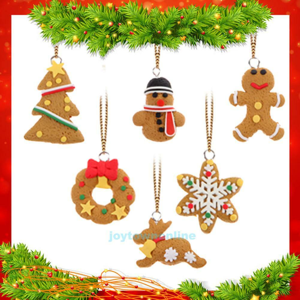 Polymer Clay Christmas Decorations.6pcs Christmas Ornament Polymer Clay Pendants Tree Hanging Gift Xmas Decoration
