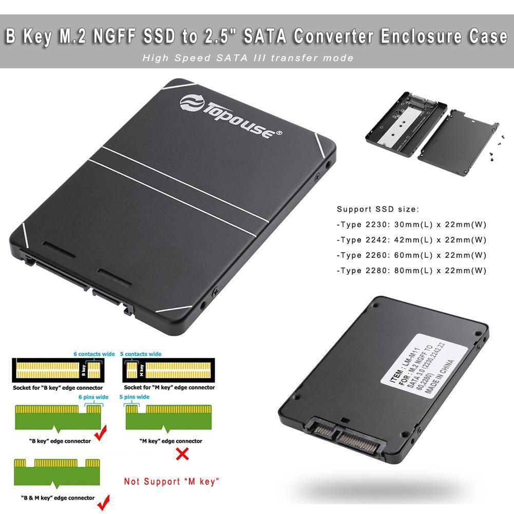 B Key M.2 NGFF SSD to 2.5 inch SATA Converter Adapter Enclosure Case Box Black 2