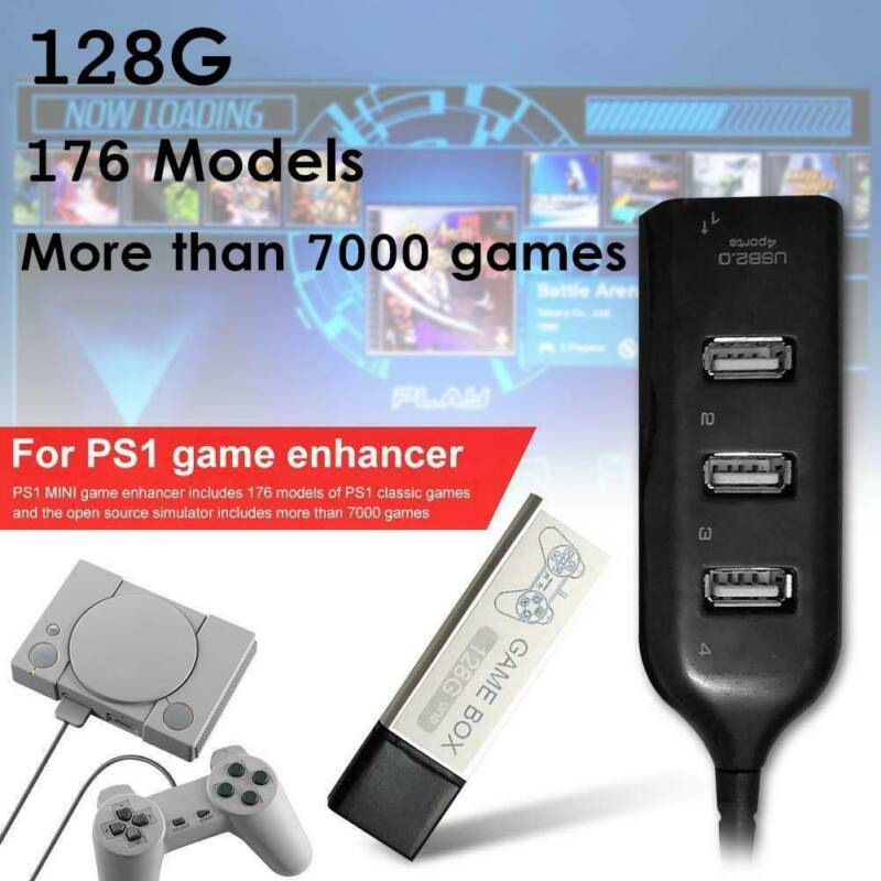 128G PS1 MINI True Blue Mini Crackhead Pack For Playstation Built-in 7000 Games` 2